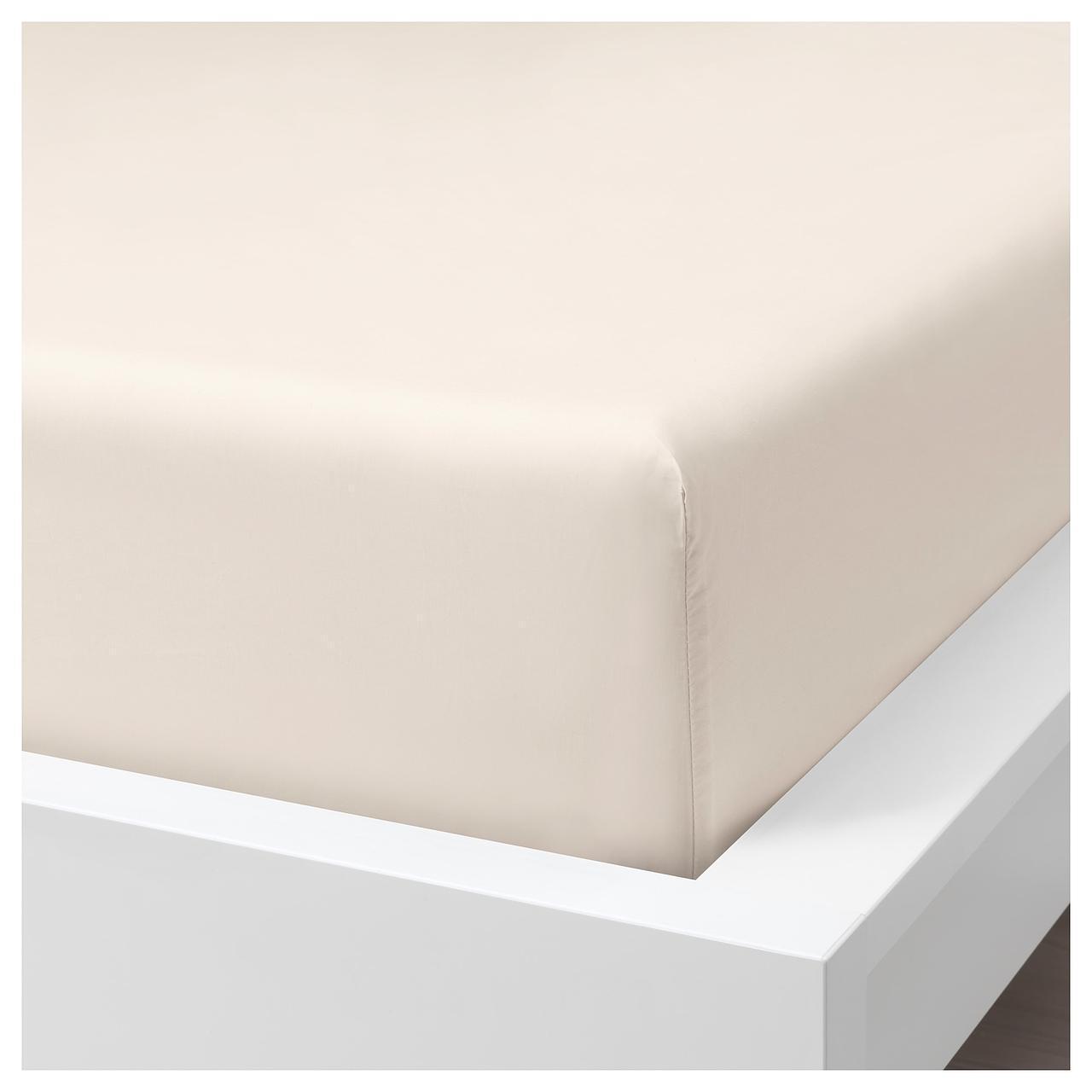 Простыня IKEA SÖMNTUTA 180х200 см на резинке светло-бежевая 804.127.90