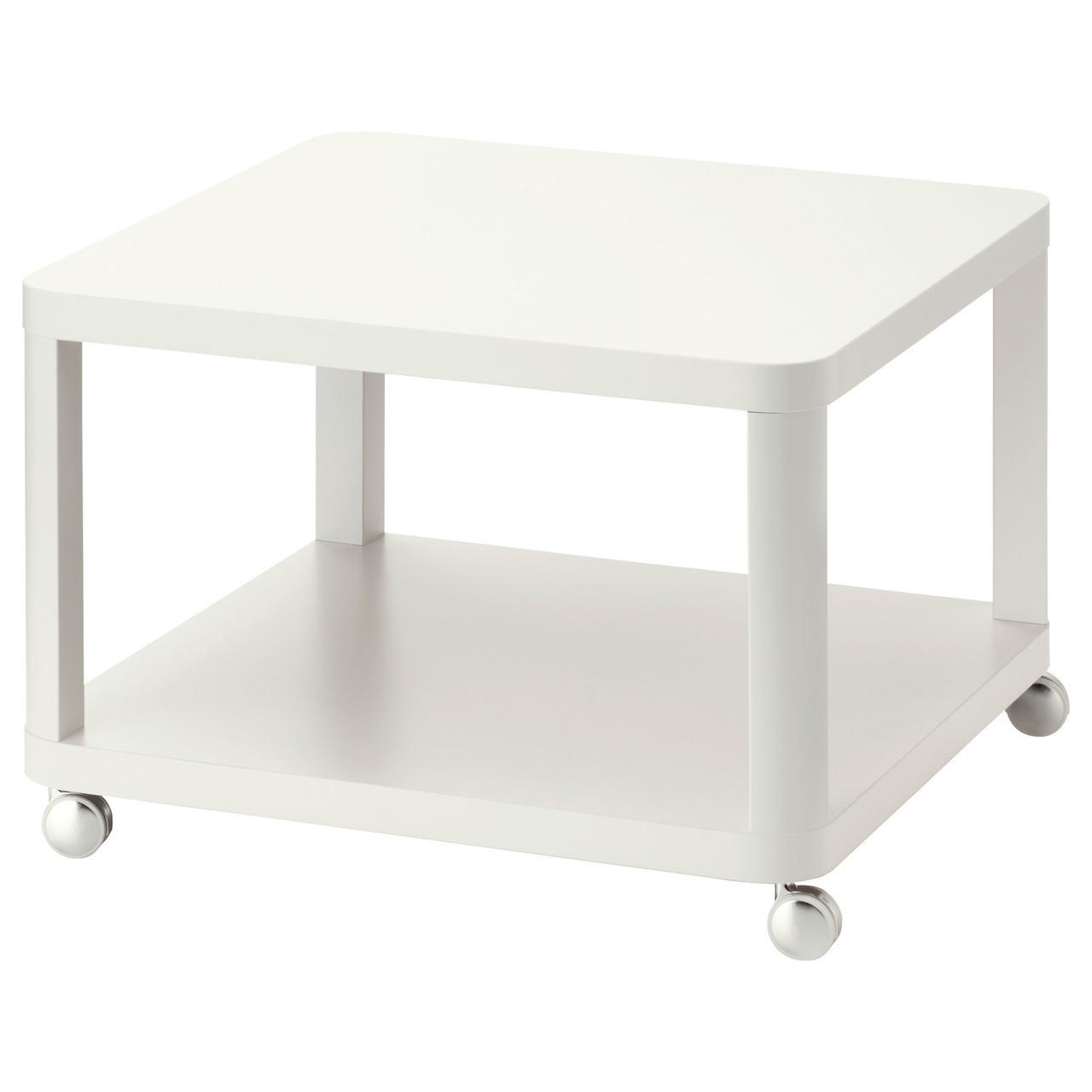 Журнальный стол IKEA TINGBY на колесиках белый 202.959.25