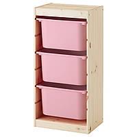 TROFAST Стеллаж с контейнерами, сосна, розовый 191.031.35