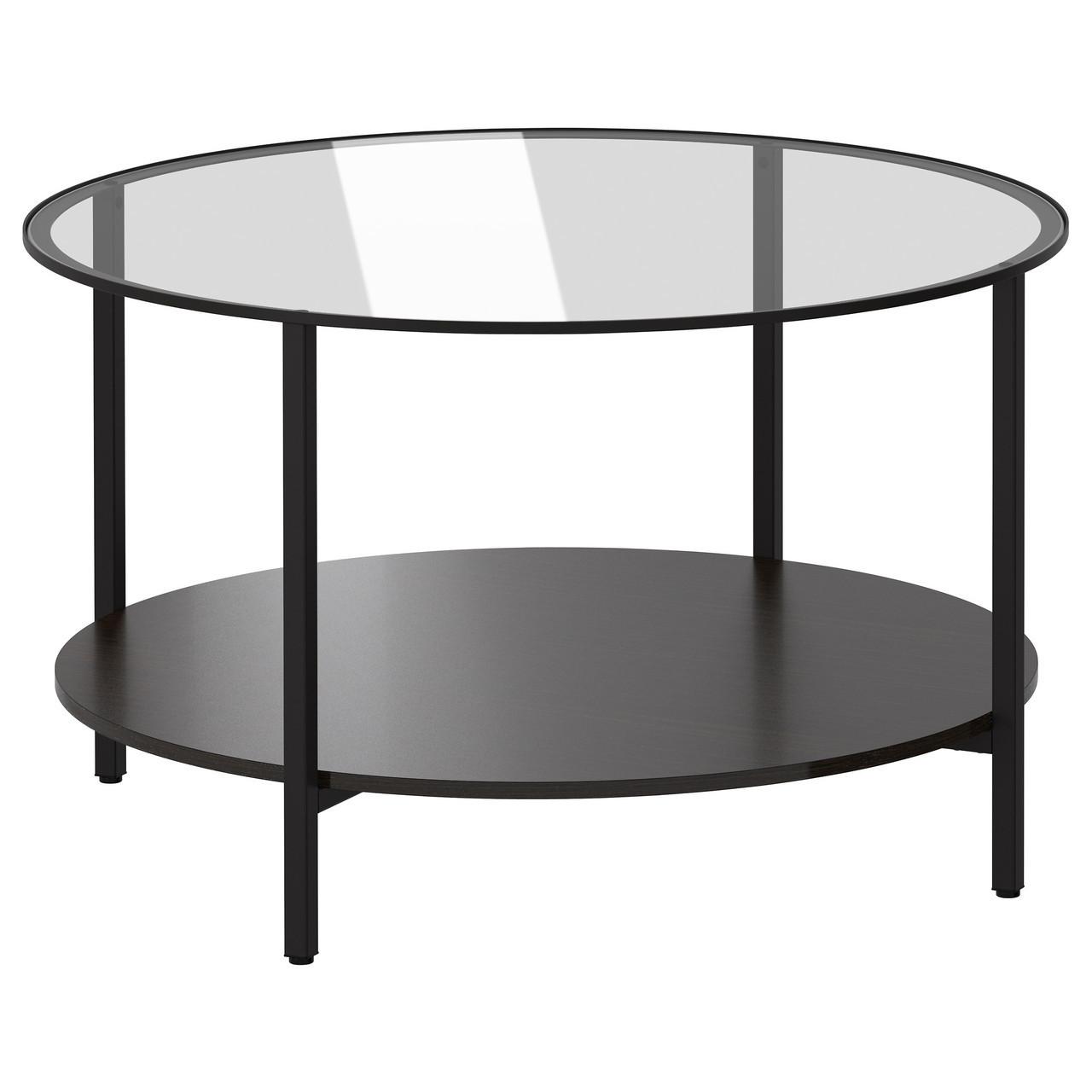 Журнальный стол IKEA VITTSJÖ стеклянный черно-коричневый 802.133.09