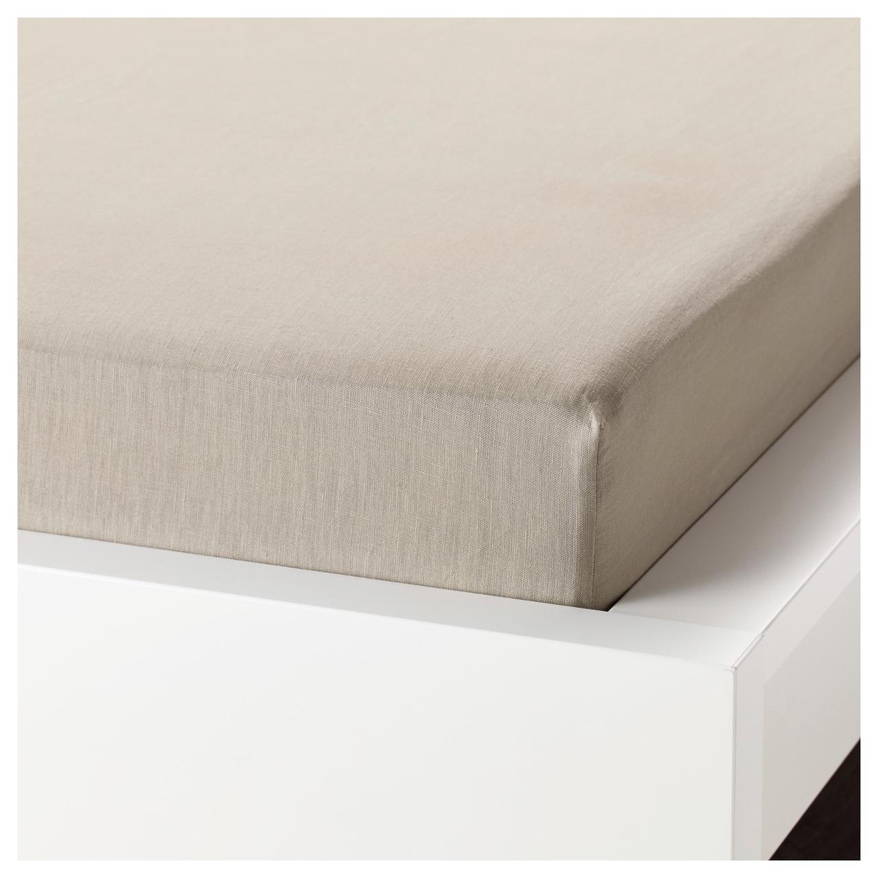 Простыня на резинке IKEA PUDERVIVA 140х200 натуральная 304.066.64