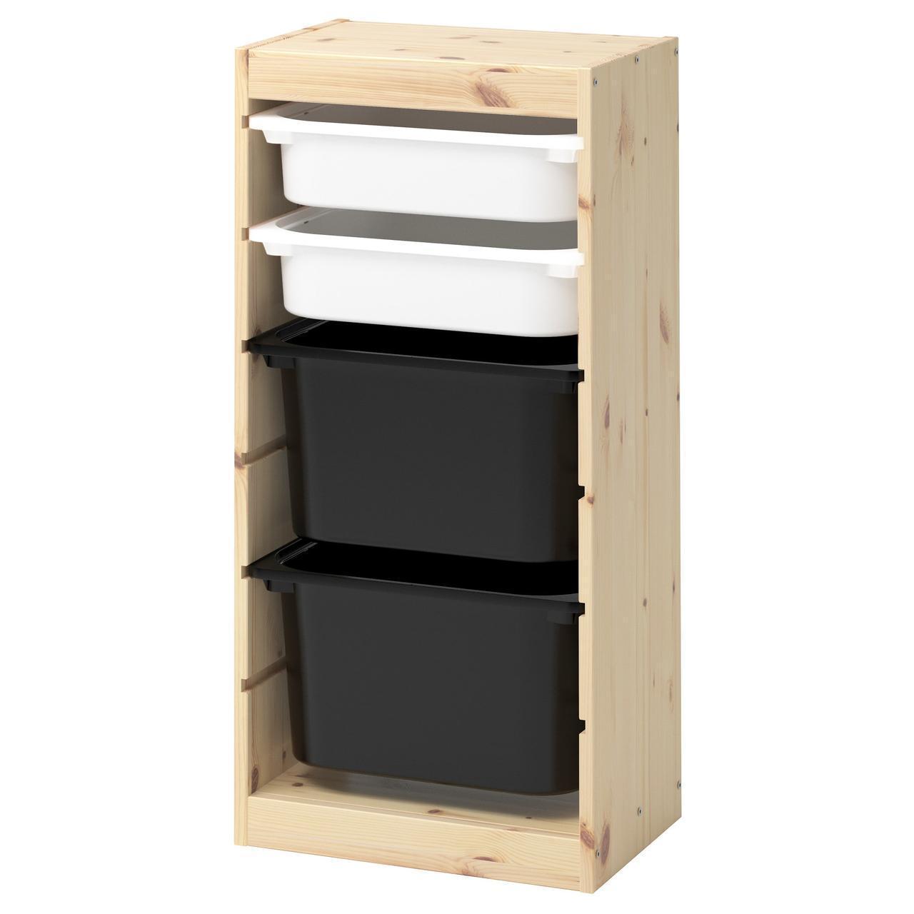 Комод для игрушек IKEA TROFAST 44x30x91 см сосна белый черный 392.408.91