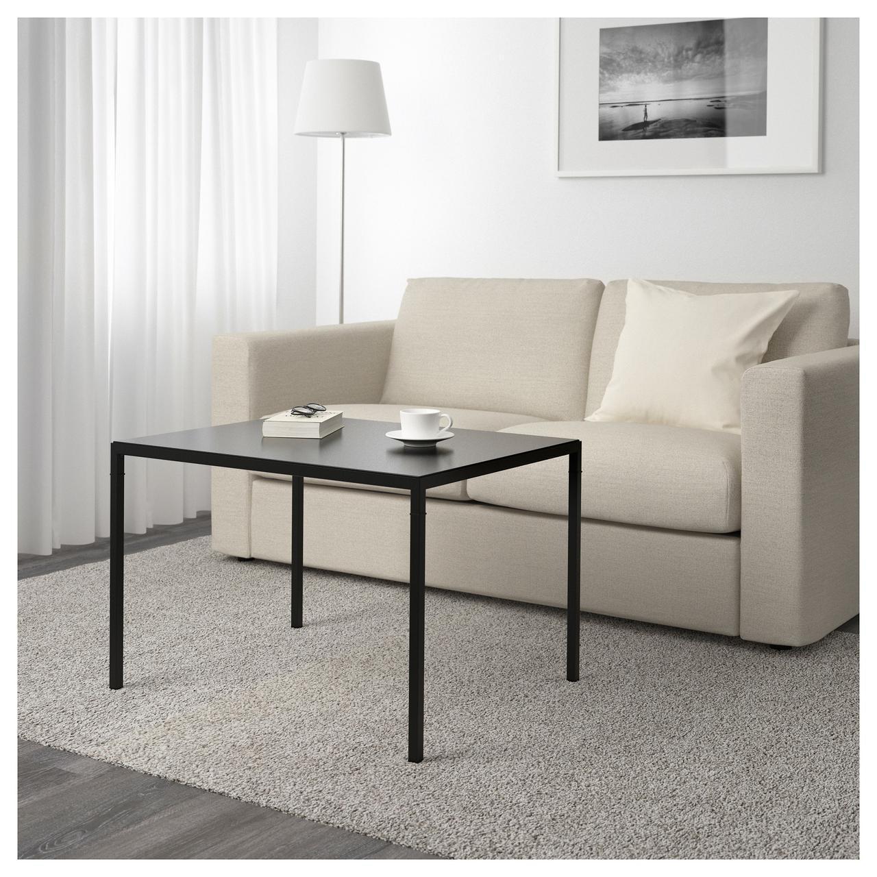 Кофейный столик с двусторонней столешницей IKEA NYBODA 75x60x50 см черный бежевый 703.426.46