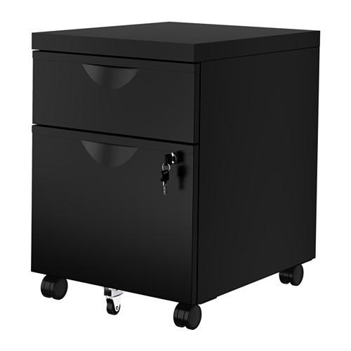 Тумба на колесиках с 2 ящиками, черный, 41x57 см IKEA ERIK 603.410.01
