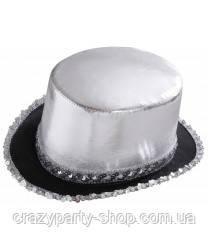Шляпа Цилиндр серебристый, фото 1
