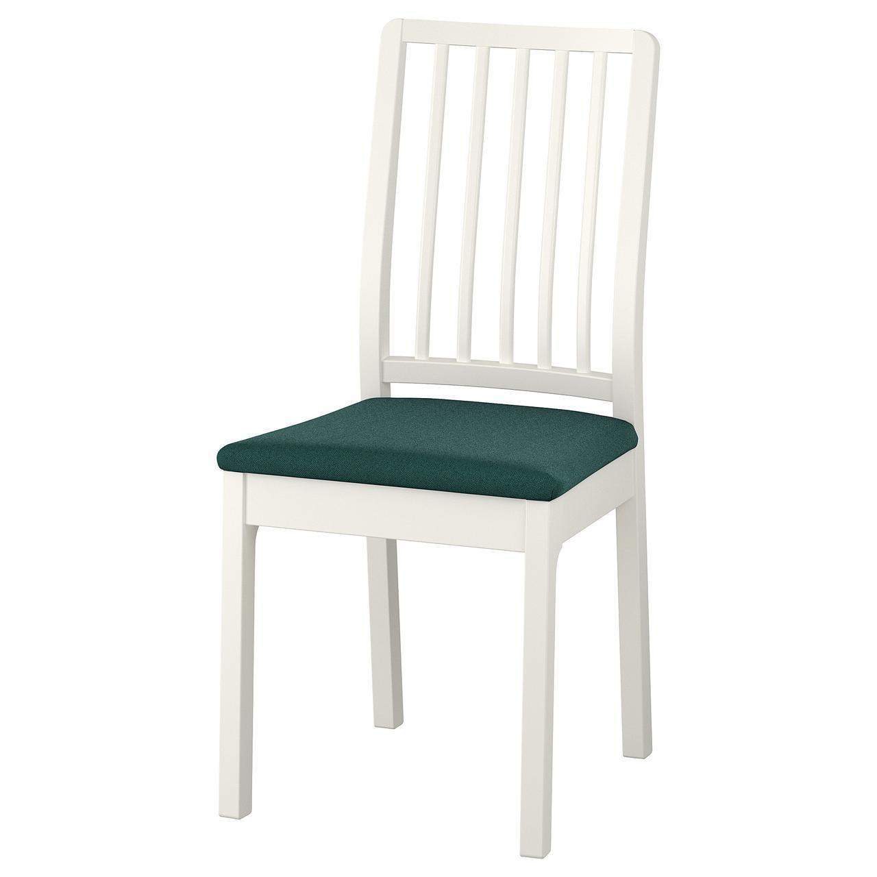 Кресло кухонное IKEA EKEDALEN Gunnared белое темно-зеленое 092.652.70