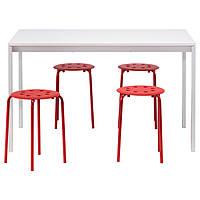 MELLTORP / MARIUS Стол и 4 табурета, белый, красный 090.107.02