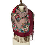 Спящая красавица 1548-5, павлопосадский платок шерстяной (с просновками) с шелковой бахромой, фото 2