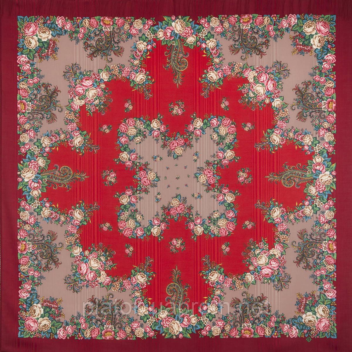 Спляча красуня 1548-5, павлопосадский хустку вовняної (з просновками) з шовковою бахромою