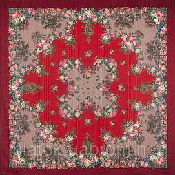 Спящая красавица 1548-5, павлопосадский платок шерстяной (с просновками) с шелковой бахромой