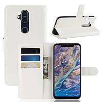 Чехол-книжка Litchie Wallet для Nokia 7.1 plus Белый