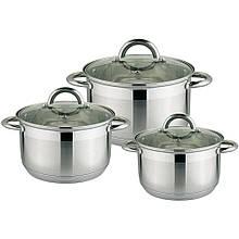 Набір кухонних каструль з нержавіючої сталі Rainstahl RS 1647-06 6 предметів для дому кастюли