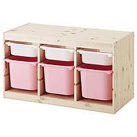 TROFAST Стеллаж с контейнерами, сосна белый, розовый 291.026.30