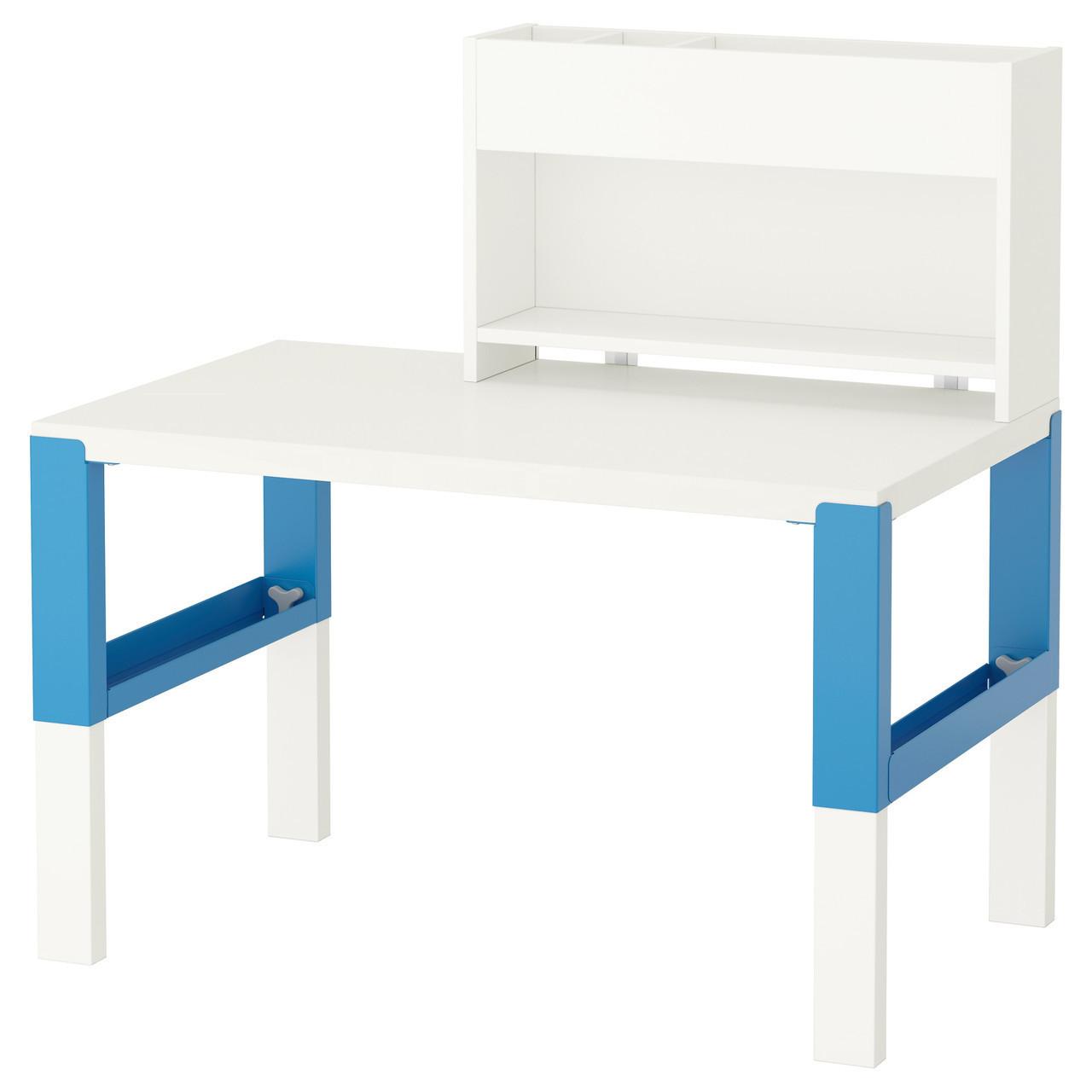 PÅHL Стол с дополнительным модулем, белый, синий 391.289.55