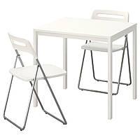 MELLTORP / NISSE Стол и 2 складных стула, белый, белый 191.614.89