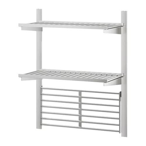 Настенная рейлинговая система с полкой и решеткой IKEA KUNGSFORS нержавеющая сталь 192.543.32
