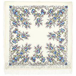 Утреннее сияние 1561-4, павлопосадский платок шерстяной (с просновками) с шелковой бахромой