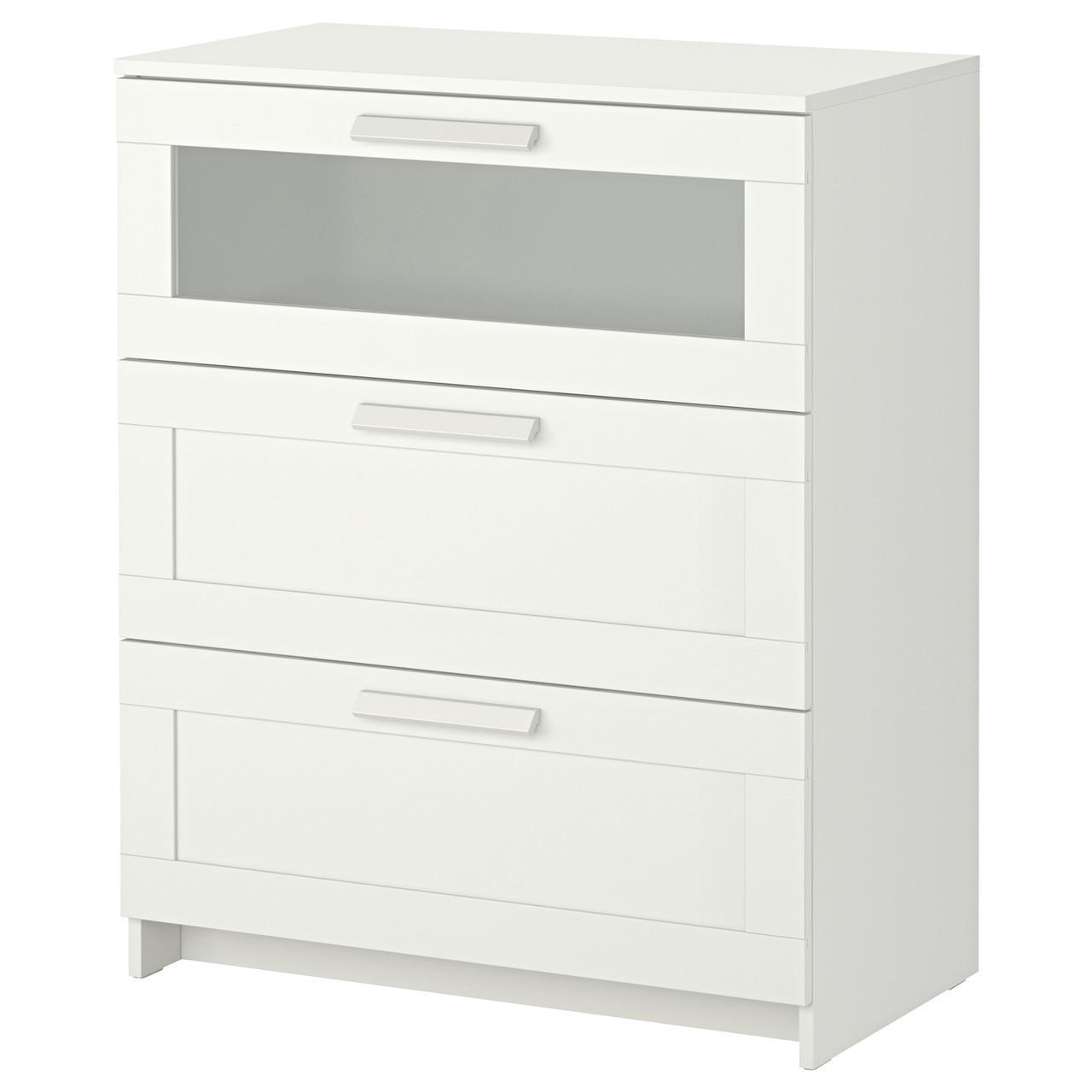 Комод с 3 ящиками IKEA BRIMNES белый матовое стекло 802.180.24