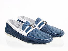 Мокасини Etor 14145-8934-ni-07  білий+блакитний
