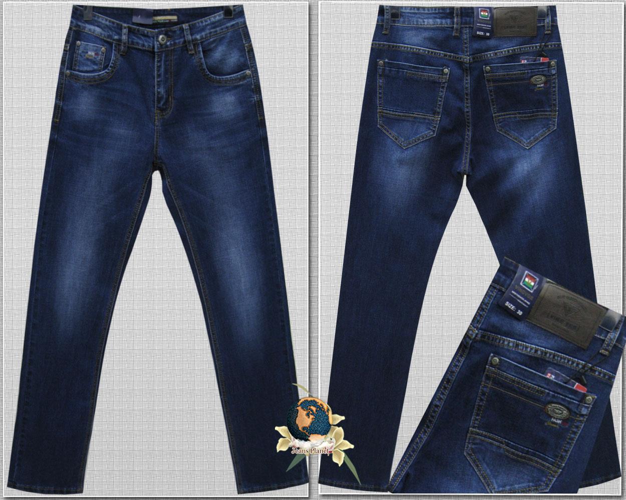 80c28c58df52 Мужские классические стрейчевые джинсы тёмно-синего цвета Vigg
