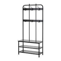 Вешалка для одежды со скамейкой, черный, 193 см IKEA PINNIG 203.297.89