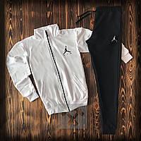 Спортивный костюм Jordan белого и черного цвета (люкс копия)