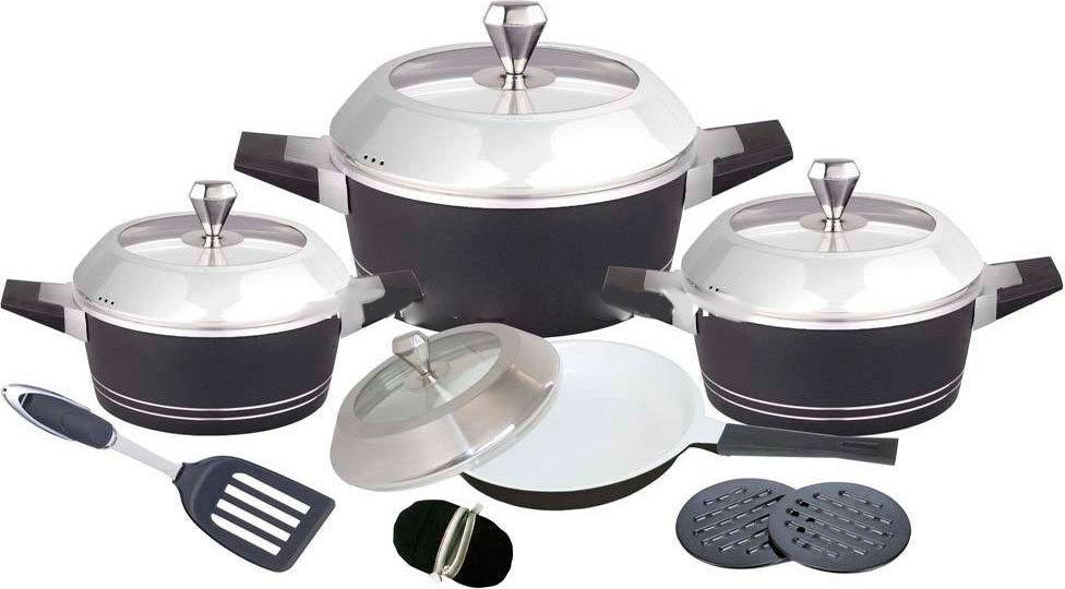 Набор посуды Barton Steel 6813 с керамическим покрытием 12 предметов 2.5L/4.5L/7L /3L