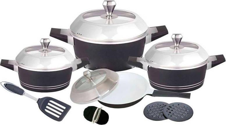 Набор посуды Barton Steel 6813 с керамическим покрытием 12 предметов 2.5L/4.5L/7L /3L, фото 2