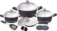 Набор посуды Barton Steel 6813с керамическим покрытием 12 предметов 2.5L/4.5L/7L /3L
