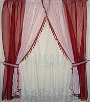 Кухонный комплект шторки из шифона с бахромой №17
