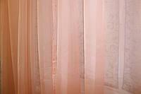 Тюль шифоновая однотонная, цвет персиковый