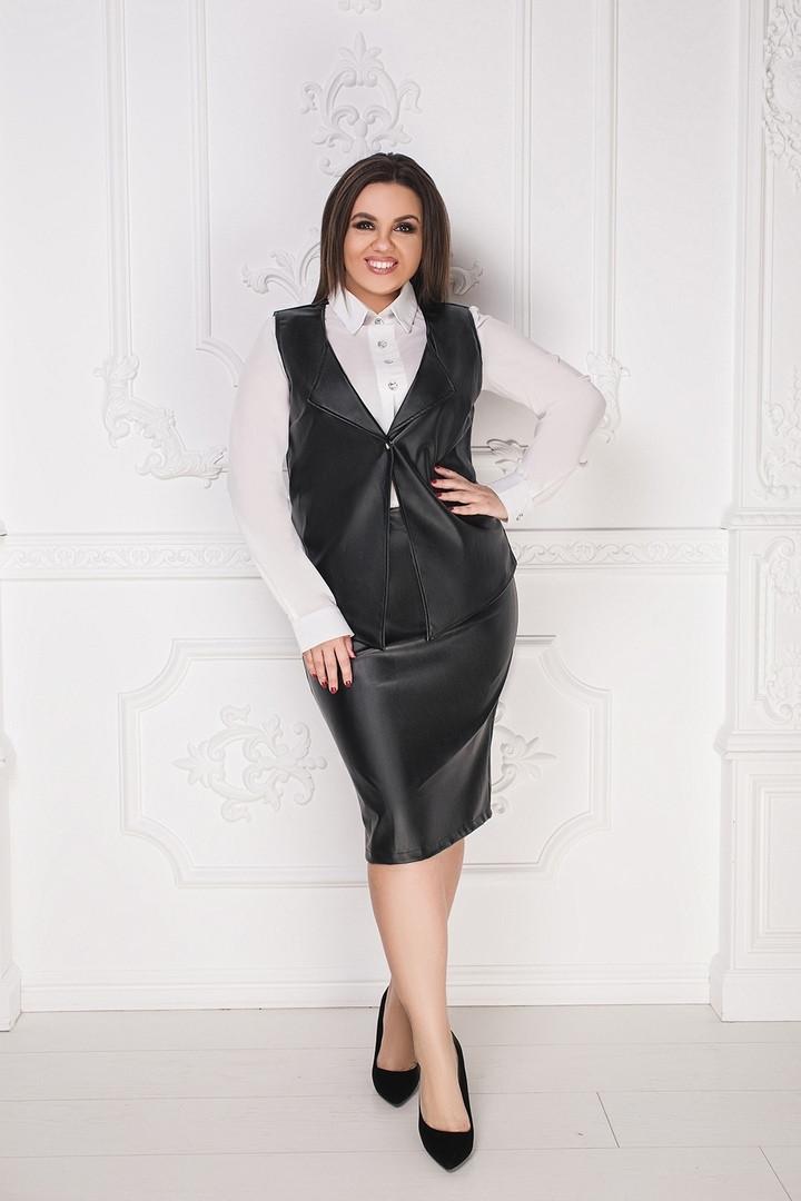 """Кожаный женский костюм-тройка """"Bess"""" с блузой и жилетом (большие размеры)"""
