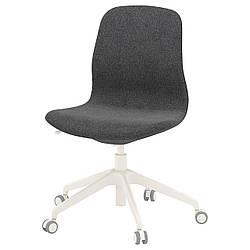 Компьютерное кресло IKEA LÅNGFJÄLL Gunnared темно-серое белое 492.523.84