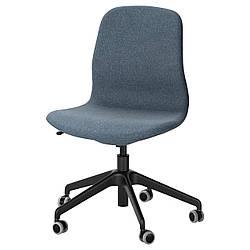 Компьютерное кресло IKEA LÅNGFJÄLL Gunnared голубое черное 191.775.79