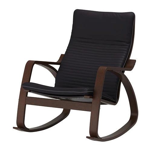 Кресло-качалка IKEA POÄNG коричневое Knisa черное 092.415.52