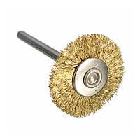 Щетка дисковая латунированная на штоке 40х3 мм