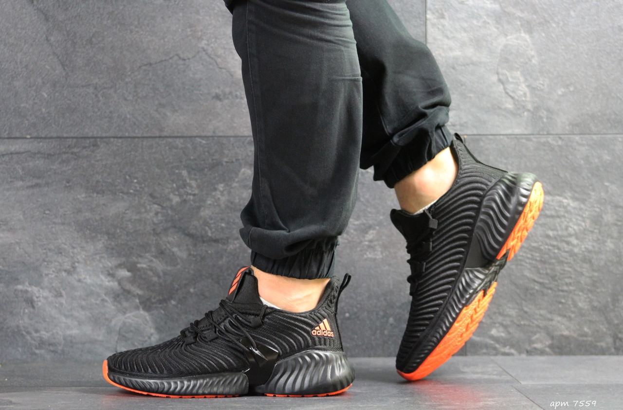 Мужские кроссовки Adidas Alphabounce Instinct,текстиль,черные с оранжевым