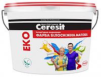 Интерьерная акриловая краска белоснежно матовая Церезит (Ceresit) Eko 14 кг