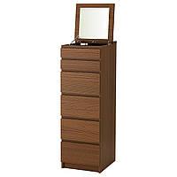 Комод с 6 ящиками IKEA MALM коричневая морилка ясеневый шпон зеркальное стекло 503.152.91