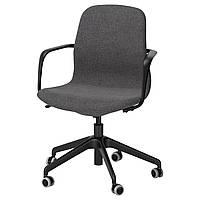 Компьютерное кресло IKEA LÅNGFJÄLL Gunnared темно-серое черное 591.779.02