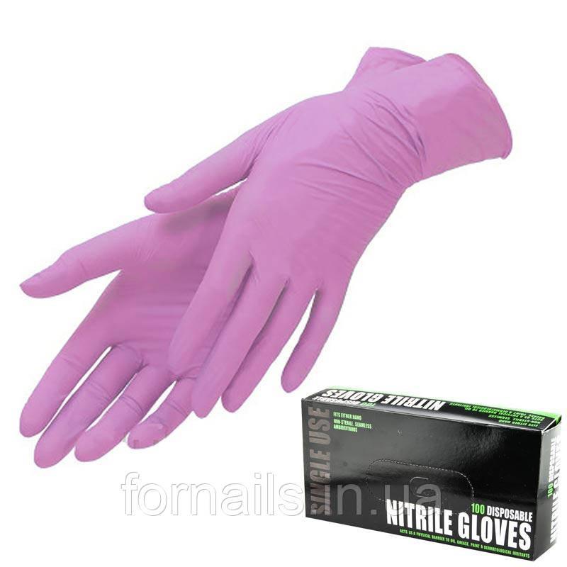 Рукавички Nitrile Gloves, нітрилові рожеві, розмір XS, 100 шт