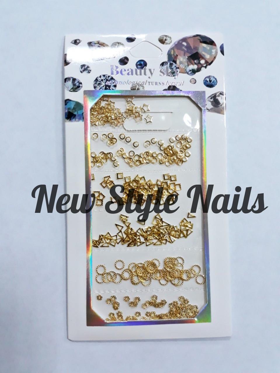 Набор декора для ногтей, золотые фигурки