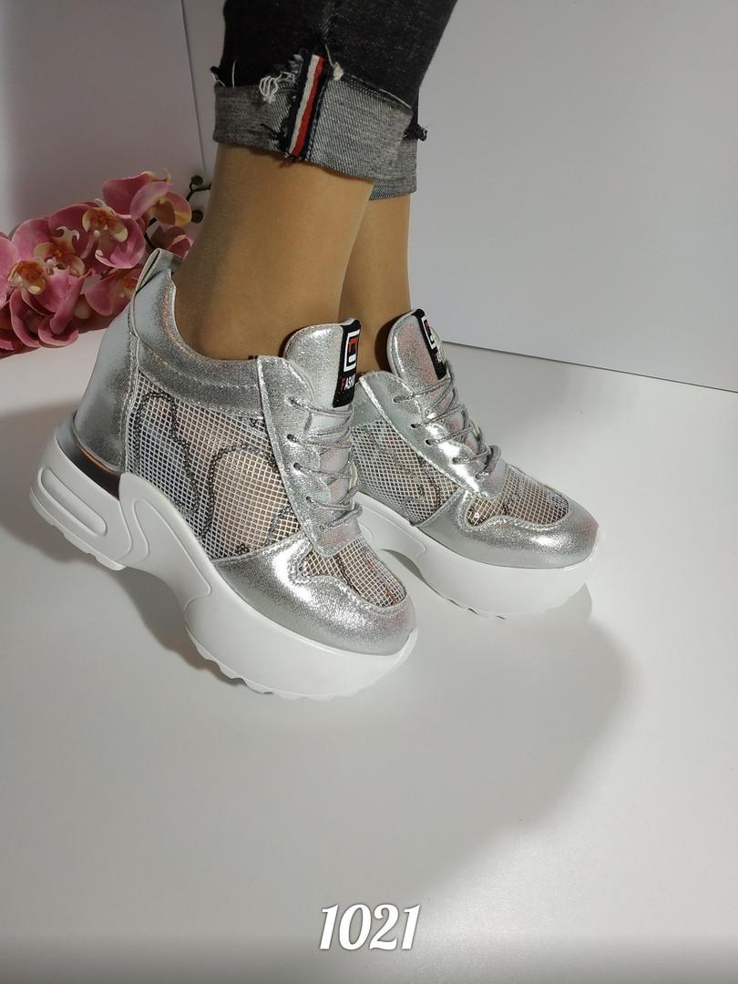 Женские серебристые кроссовки сникерсы, ОВ 1021