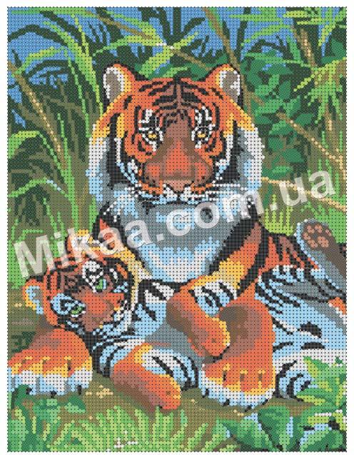 """Схема для полной зашивки бисером - """"Тигры"""""""