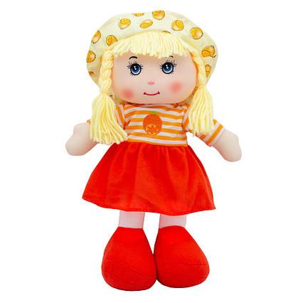 """Мягкая игрушка """"Кукла"""" с вышитым лицом, оранжевое платье, 36 см, (31814-1)"""