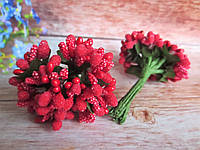 Сложные тычинки, КРАСНЫЕ, 12 шт. на проволоке, фото 1
