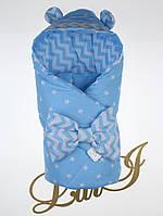 Демисезонный конверт-одеяло Микки, голубой, принт звезды/волна