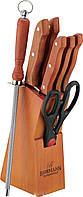 Ножи набор на деревянной подставке 7 предметов Bohmann BH-5103 MAR для кухни набор