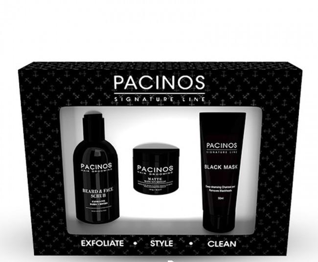 Набор для ухода - скраб для лица и бороды 118мл, матте 29мл, черная маска 50мл New Pacinos