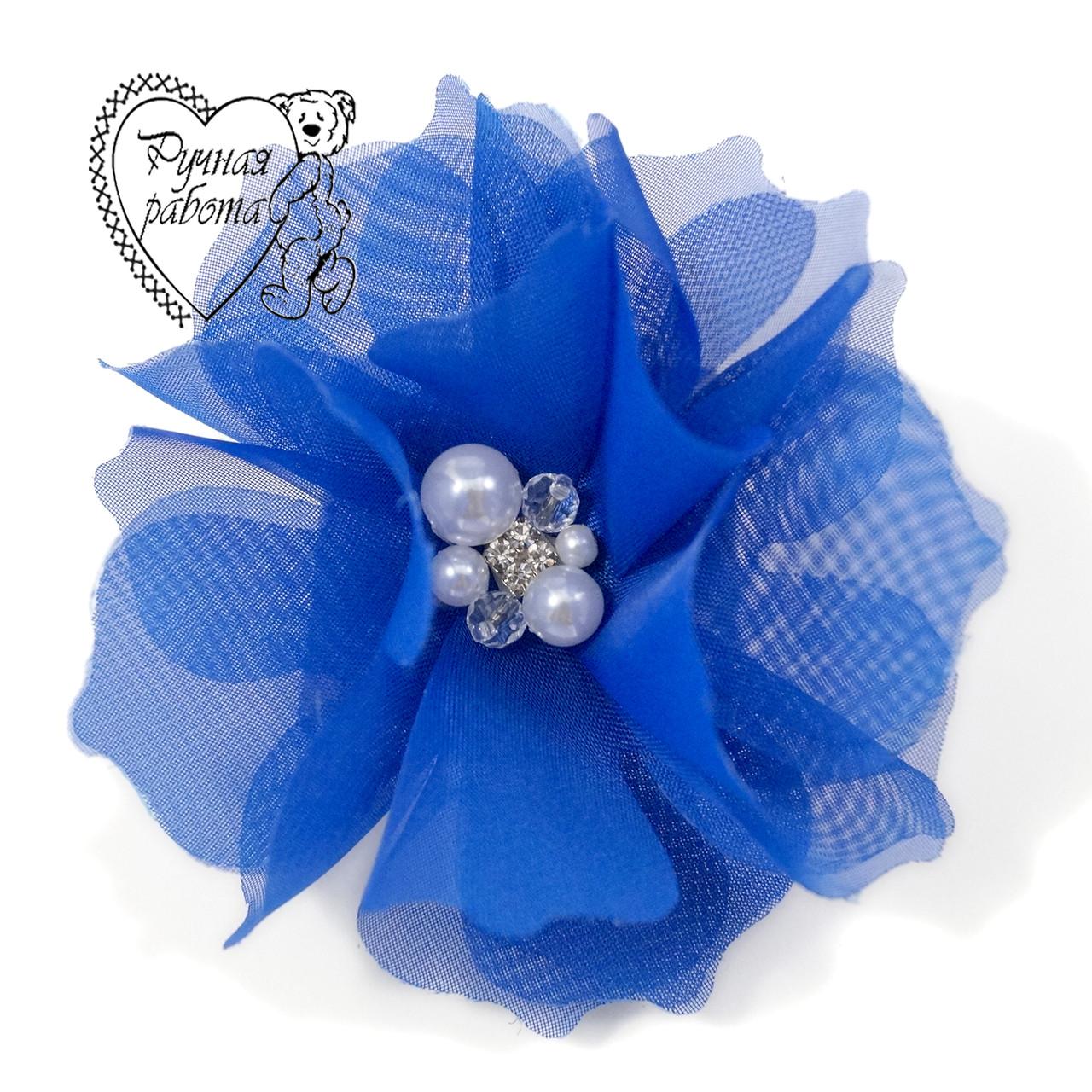 Гумка Шифоновий квітка з намистинами, синій електрик, ручна робота, 10 см, під замовлення будь-який колір